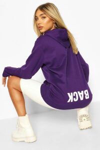 Womens Back Print Slogan Hoodie - Purple - 14, Purple