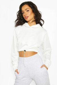 Womens Drawcord Cropped Hoodie - White - 16, White
