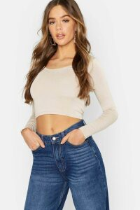 Womens Basic Long Sleeve Crop Top - Beige - 14, Beige