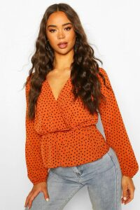 Womens Polka Dot Wrap Peplum Blouse - Orange - 14, Orange