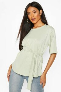 Womens Ribbed Tie Waist Top - Green - 8, Green