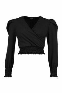 Womens Shirred Detail Wrap Top - Black - 14, Black