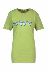Womens Butterfly Print T-Shirt - Kiwi - M, Kiwi