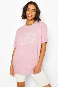 Womens Sun & Moon Washed Tee - Pink - 6, Pink