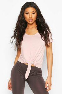 Womens Fit Basic Jersey Loose Fit Gym Tie Front T-Shirt - Pink - 12, Pink