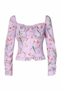 Womens Floral Print Tie Front Frill Detail Top - Purple - 16, Purple