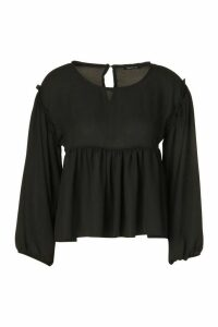 Womens Frill Detail Smock Top - Black - 16, Black