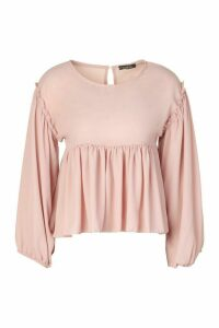 Womens Frill Detail Smock Top - Pink - 10, Pink