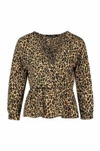 Womens Woven Leopard Wrap Blouse - Beige - 16, Beige