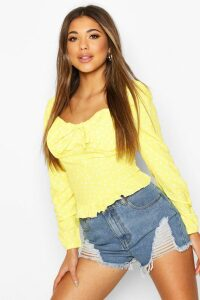 Womens Polka Dot Tie Front Frill Detail Top - Yellow - 14, Yellow