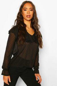 Womens Dobby Mesh Chiffon Frill Blouse - Black - 14, Black