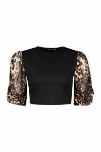 Womens Leopard Ruched Sleeve Crop Top - Black - 16, Black