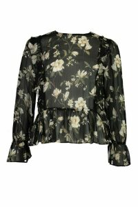 Womens Sheer Floral Ruffle Blouse - Black - 14, Black