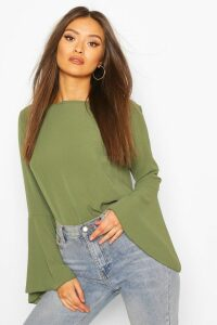 Womens Flute Sleeve Crepe Woven Blouse - Green - 6, Green