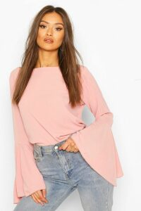 Womens Flute Sleeve Crepe Woven Blouse - Pink - 12, Pink