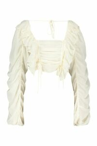 Womens Chiffon Ruffle And Ruched Detail Blouse - White - 12, White