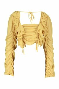 Womens Chiffon Ruffle And Ruched Detail Blouse - Yellow - 12, Yellow