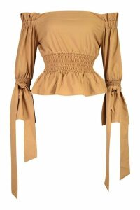 Womens Woven Off The Shoulder Shirred Detail Top - Beige - 14, Beige