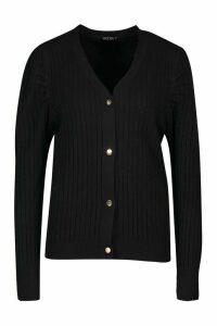 Womens Rib Knit Button Cardigan - Black - M, Black