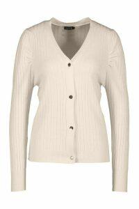 Womens Rib Knit Button Cardigan - Beige - M, Beige
