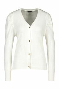 Womens Rib Knit Button Cardigan - White - M, White