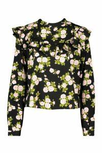 Womens Floral Ruffle Sleeve Open Back Blouse - Black - 12, Black