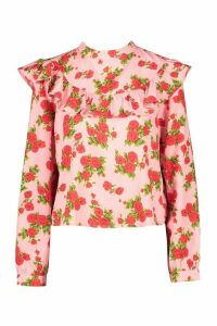 Womens Floral Ruffle Sleeve Open Back Blouse - Pink - 12, Pink