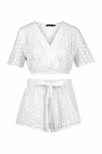 Womens Broderie Anglaise Top & Belted Short Co-Ord Set - White - 6, White