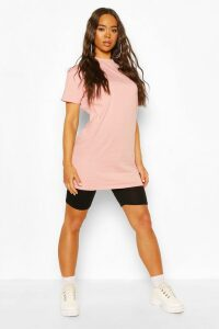 Womens Basic Long Line Cotton T-Shirt - Pink - 14, Pink