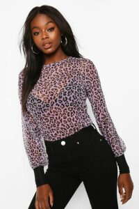 Womens Leopard Mesh Top With Contrast Cuffs - Purple - 14, Purple