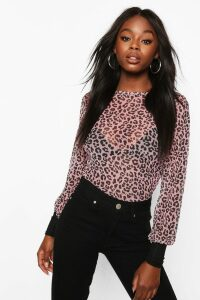 Womens Leopard Mesh Top With Contrast Cuffs - Pink - 14, Pink
