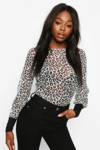 Womens Leopard Mesh Top With Contrast Cuffs - White - 14, White