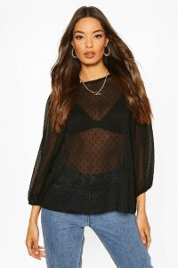 Womens Dobby Spot Batwing Top - Black - 14, Black