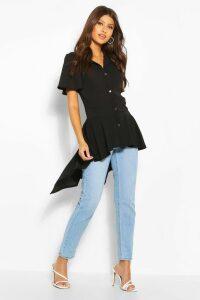 Womens Button Front Shirt With Waterfall Hem - Black - 14, Black