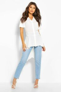Womens Button Front Shirt With Waterfall Hem - White - 14, White
