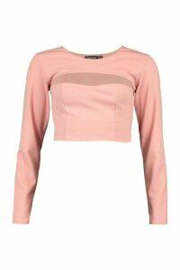 Womens Scuba Crepe Cut Out Detail Crop Top - Pink - 14, Pink