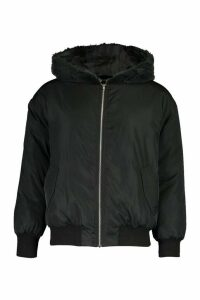 Womens Faux Fur Lined Bomber Hooded Jacket - Black - 16, Black