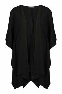 Womens Oversized Waterfall Sleeve Kimono - Black - M, Black