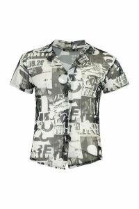 Womens Printed Mesh Button Front Shirt - Black - 14, Black