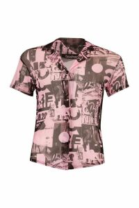 Womens Printed Mesh Button Front Shirt - Pink - 14, Pink