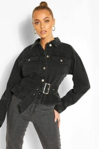 Womens Belted Denim Jacket - Black - 16, Black
