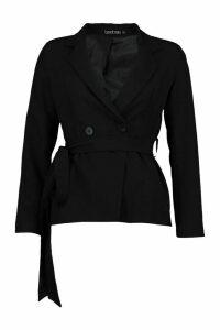 Womens Tie Waist Detail Tailored Blazer - Black - M, Black