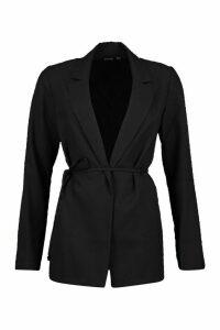 Womens Tie Detail Blazer - Black - 14, Black