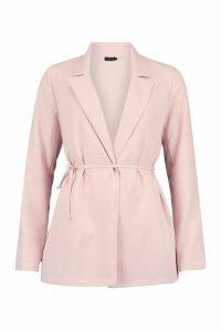 Womens Tie Detail Blazer - Pink - 14, Pink