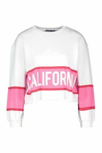 Womens Petite Colour Block Slogan Sweatshirt - White - 4, White