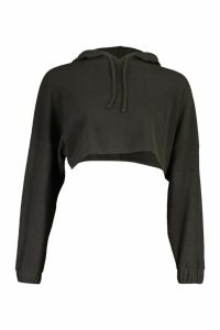 Womens Petite Knitted Ribbed Cropped Hoody - Black - 14, Black