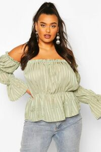 Womens Plus Sheer Satin Striped Bardot Peplum Top - Green - 16, Green