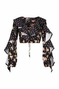 Womens Petite Floral & Polka Dot Ruffle Crop Top - Black - 14, Black