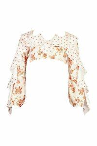 Womens Petite Floral & Polka Dot Ruffle Crop Top - White - 12, White