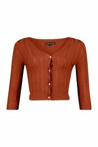 Womens Petite Fine Knit Rib V-Neck Jumper - Orange - M, Orange